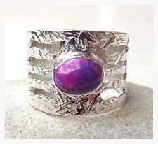 925 Sterling Silver PURPLE TURQUOISE Semi Precious Gemstone RING SIZE P 1/2 -US8