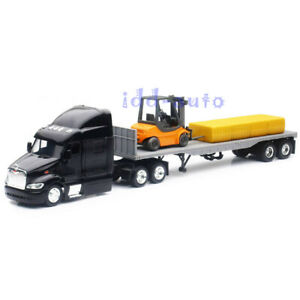 NEW RAY PETERBILT MODEL 387 LOW BOY with FORKLIFT 1/43 BLACK SS-15123J