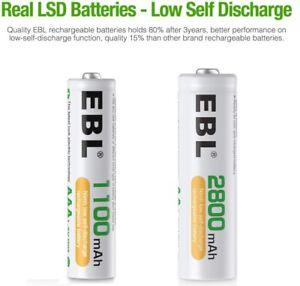 EBL Lot AA  2800mAh & AAA 1100mAh Rechargeable Batteries  HIGH POWER