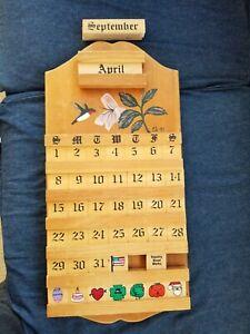 "Vintage Perpetual Calendar Wood Tile Hummingbird Flower 21"" x 10.5"" Signed 1997"