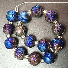 12mm Blue Titanium Crystal Agate Druzy Quartz Geode Stone Round loose bead