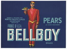 BELLBOY Vintage Pear Crate Label, Washington, ***AN ORIGINAL FRUITCRATE LABEL***