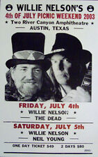 "Willie Nelson Concert Poster 4th of July 2003 w/ The Dead and Neil Young 14""x22"""