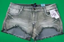 Southpole Womens Juniors Size 15 Denim Cut-off Mini Short Shorts Army Green NWT