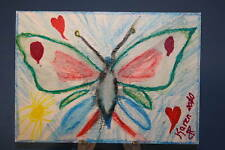 ACEO ORIGINAL Art  BUTTERFLY HEART Painting / Drawing by Karen