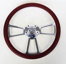 "Bronco F100 F250 F350 Torino Steering Wheel Burgundy Billet 14"" Ford Center Cap"