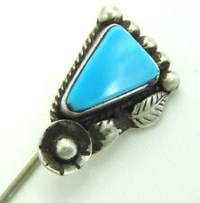 VINTAGE NAVAJO STERLING TURQUOISE STONE STICKPIN SCARF PIN HAND WROUGHT