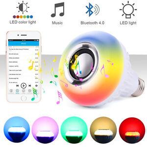 Wireless Bluetooth Speaker Bulb Light 12W LED RGB Smart Music Play Lamp Remote @