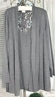 NEW Plus Size 2X Gray Open Cardigan Sweater Jacket Lace Crochet Topper