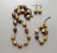 Speckled Scottish glass agate necklace bracelet earrings .. parure set jewelry