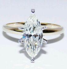 MARQUISE CUT SOLITAIRE ENGAGEMENT RING .50 CARAT SOLID 14K TWO-TONE    GOLD