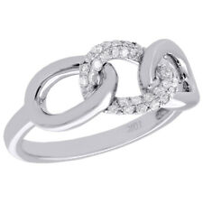10K White Gold Diamond Interlinked Band Triple Link Right Hand Ring 0.20 Ct.