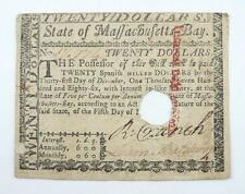 U.S.A. Colonial America 1780 State of Massachusetts Bay $20 Guaranty Note