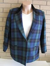 DUMAS Navy Black Green Plaid Wool Blazer Sz 12 Similar MK Style $398 USA