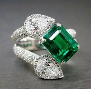 Emerald-cut Toi et Moi Ring Pear-shaped Sim Diamond Solid 925 Sterling Silver
