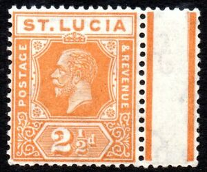 1925 St Lucia Sg 97 2½d orange Unmounted Mint Margin Example