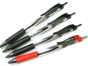 4 X QUANTUM GELOPLUS TOUCH 500 BALLPOINT PEN RETRACTABLE BLACK RED INK 0.7mm Set