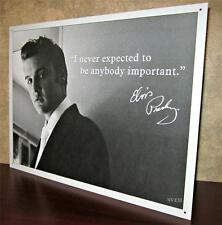Elvis Presley in Suit Black & White Photo with Quote Metal Hanging Picture Sign