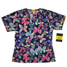 Wonderwink Scrub Top Women's Butterfly Floral Print 6017-Pff Pretty Fleet