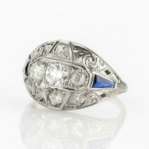 Art deco ring (18k gold) with diamonds and sapphires