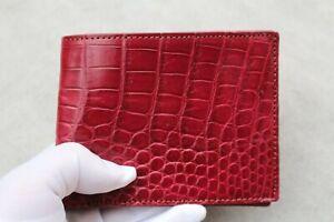 Genuine Alligator Crocodile Leather SKIN Men Bifold Wallet Handmade Burgundy