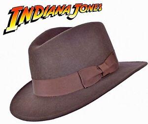 Indiana Jones Stil 100% Wollfilz Fedora Brown Hut Knautschfähig Wasserabweisend