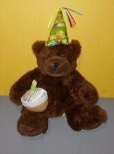"Pro Flowers 14"" Chocolate Birthday Hat & Cake Teddy Bear Stuffed Bean Plush"