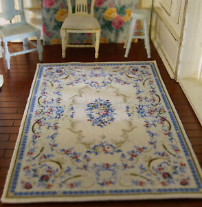 Beige Subtle Rose Floral Classic French Country Style Dollhouse Rug 1/12 Scale