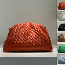 Ruched Woven Real Leather Clutch Pouch Baguette Shoulder Purse Party Evening bag