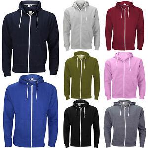 Mens Plain Hoodies Fleece Jacket Sweatshirt Zipper Zip Up Hoodie Soft Lined Hood