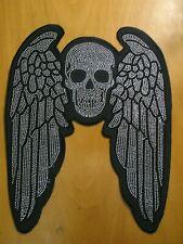 Patch Totenkopf-Schädel mit Flügeln Strasssteine Glitzer Bügelbild 36 x 28cm
