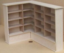 1:12 Flat Pack MDF Wooden Left Hand Corner Shelf Unit Dolls House Miniature