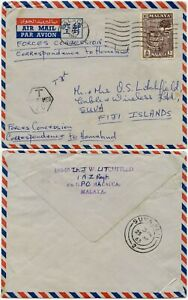 FIJI FORCES AIRMAIL from MALAYA 1963 CONCESSION CHARGED 10c TAXE MILITARY
