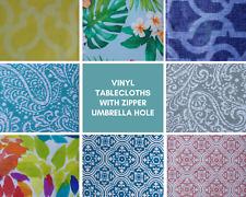 Summer Fun Flannel backed Vinyl Tablecloths with Zipper Umbrella Hole.