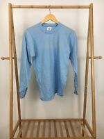 VTG 80s Cal Cru Men's Blank 50/50 Thin Long Sleeve Light Blue T-Shirt Size S USA