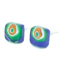 Murano Glass Earrings Blue Green Orange Millefiori Handmade Venice Stud Square