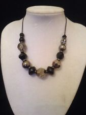 next black and clear bead cord necklace