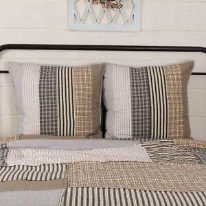 VHC Brands Farmhouse Euro Sham Set of 2 Grey Patchwork Ashmont Bedroom Decor