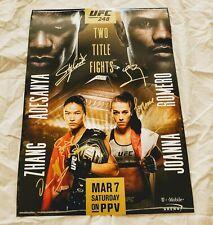 UFC 248 Signed Poster *PROOF Israel Adesanya Romero Weili Zhang Jedrzejczyk MMA