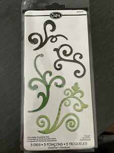 Sizzix Sizzlits  3 Dies decorative Flourishes Set #656538 NEW