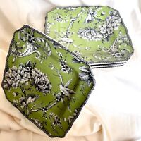 """Set of 4  ~ 222 Fifth Adelaide Green & White Toile Square  8.5""""  Salad Plates"""