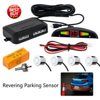 Audio WIRELESS CAR REVERSING REVERSE PARKING 4 SENSOR KIT BUZZER ALARM White
