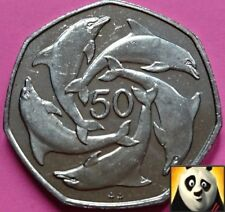 1995 Rare GIBRALTAR 50p Fifty Pence Dolphins 7 Sided Large Coin AA Die Mark