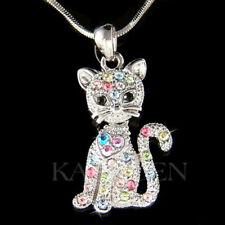 Rainbow Kitty Cat Kitten movable made with Swarovski Crystal Charm Cute Necklace