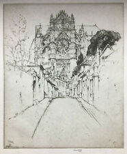 ETCHING Hand Signed ~ ERNEST D. ROTH ~ 1914 St. Pierre; BEAUVAIS, FRANCE