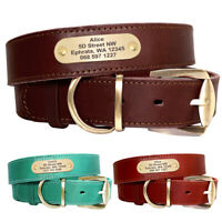Genuine Leather Personalised Dog Collars with Nameplate Custom ID Tags Engraved
