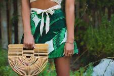 Cult Gaia Ivory & Green Palm Leaves Mini Circle Skirt sz M RARE!