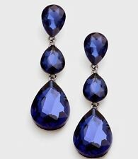 "3"" Navy Blue Long Rhinestone Crystal Pageant Dangle Drop Pierced Earrings Formal"