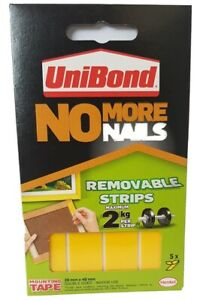 Unibond - No More Nails - Mounting Tape - Removable Strips- 20mm x 40mm - 5 Pack