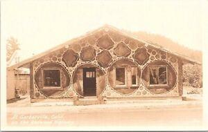 RPPC Garberville CA Redwood Highway Roadside Shop Made of Redwood Stumps 1930s